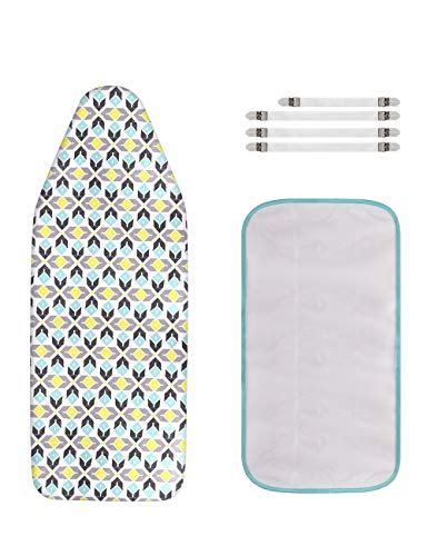 Extra-Wide Ironing Board Cover and Pad Replacement with Scorch and Stain Resistant Thick Padding and Elasticized Edge 18