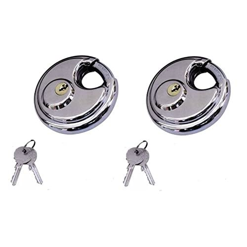 """2 Pack Round Padlock with Shielded Shackle,2.3/4"""" - 70mm, Stainless Steel Steel Armor for Trailer Storage Truck"""