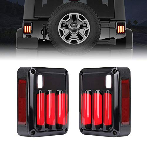 Abs Tail Light - LED Jeep Wrangler tail lights Jeep Brake Reverse Led Lights Jeep Turn Signal Tail Lamp Daytime Running Lights Smoked for 2007-2017 Jeep Wrangler JK & Unlimited-Black ABS Housing