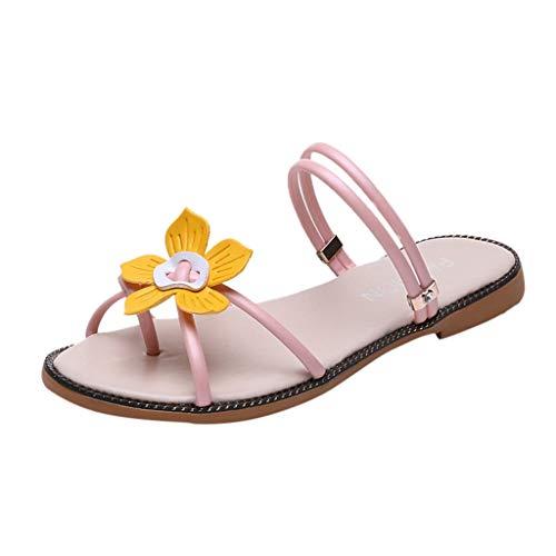 YKARITIANNA SummerWomen Ladies Bohemia Beach Flower Round ToeSandals Slippers Shoes 2019 Summer Pink