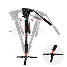 COMAN KX3232 Lightweight Aluminum Monopod Kit, with Q5 Fluid Head and Removable feet, 73 Inch Max Load 13.2 LB for DSLR Cameras or Video