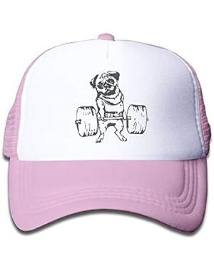 Pug On Boys and Girls Trucker Hat, Youth Toddler Mesh Hats Baseball Cap