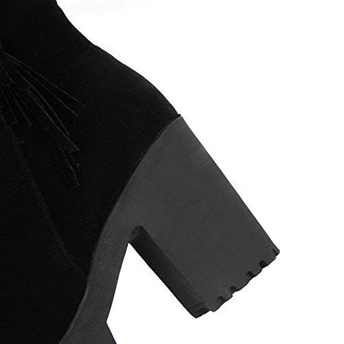 AgooLar Damen Rein Rund Zehe Mattglasbirne Reißverschluss Stiefel Schwarz