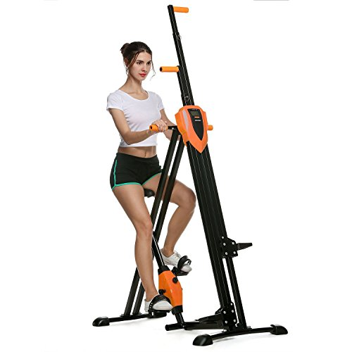 Cosway Folding Vertical Climber Stepper Gym Exercise Fitness Equipment Cardio Workout Training Machine, US Stock (Orange)