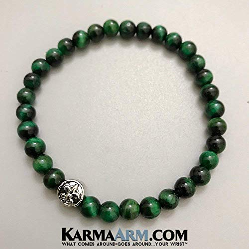 HONOR: Green Tigers Eye ⚜️ Fleur de Lis ⚜️ Yoga Jewelry, Reiki Healing Bracelets, Meditation Jewelry, Beaded Bracelets, Stretch Bracelets