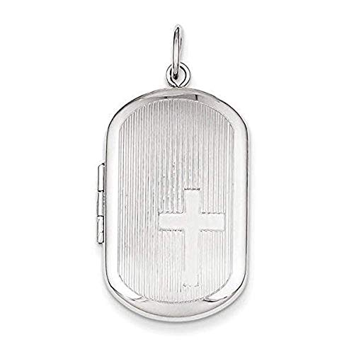 PicturesOnGold.com Sterling Silver Dog Tag Cross Locket - 1 Inch X 1-1/4 Inch in Sterling Silver with Engraving
