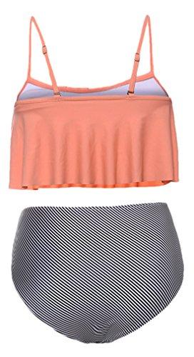 confit you - Damen High Waist Bikini Rundhals in gestreift und Volants Look, XS-XL, Mehrfarbig