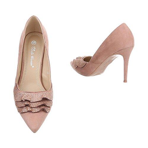 Ital-Design Women's Court Shoes Stiletto High Heels Pink 53wzzx