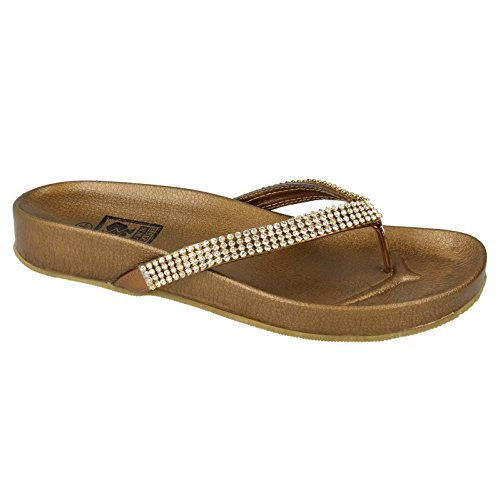 Mujer Earth Modelo Bronce Sandalias To Para chancleta Down Diamante zn0Z05