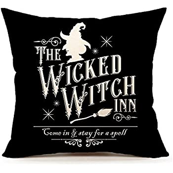 4TH Emotion Halloween Wicked Witch Inn Throw Pillow Cover Farmhouse Cushion Case for Sofa Couch 18x18 Inches Cotton Linen
