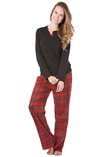 Fishers Finery Women's Pajama Set; Fleece Henley Top; Flannel Pant(Red/Black, L) (Pajamas Pants Shirt)