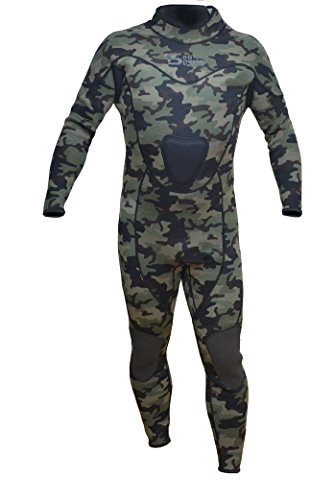 Camouflage Wetsuit Spearfishing Green Camo 3mm Back Zip Jumpsuit Fullsuit (Medium)