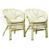 Set of 2 Pelangi Dining Armchairs Handmade Rattan Wicker Furniture White Wash