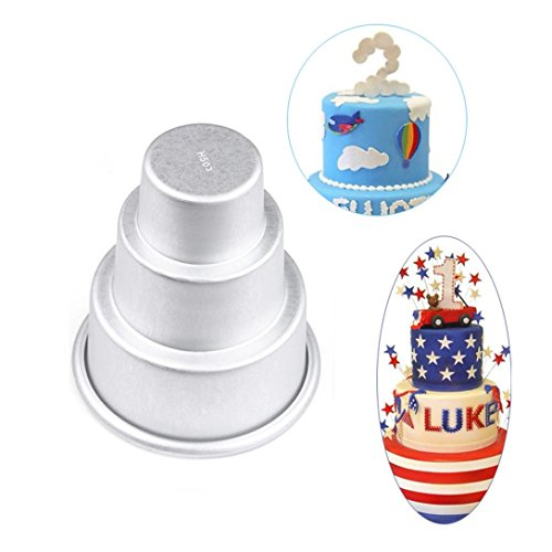 Gessppo Molde de pastel 3 Layers Tower Shaped Cake Pudding Mold Muffin Decorating Mould Tools DIY Tool Baking Tool for Home Kitchen (C)