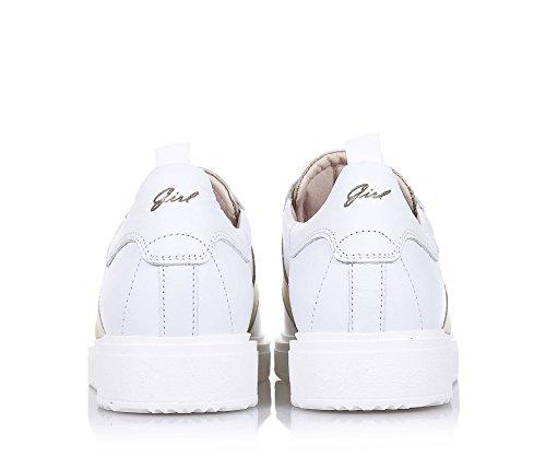 LIU JO - Chaussure à lacets blanche, made in Italy, avec applications couleur bronze, logo sur la languette, Fille, Filles, Femme, Femmes-40