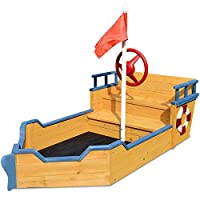 Rovo Kids Boat Style Sandpit with Ground Sheet, Natural Wood