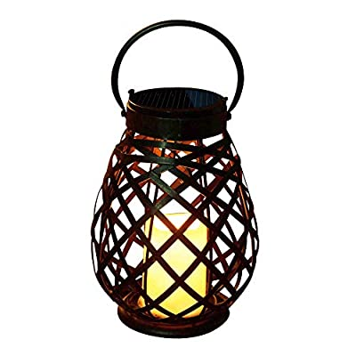 Solar Outdoor Hanging Lantern Vintage Flameless Candle Holder LED Taper Lights Rechargeable Garden Patio Yard Wedding Decor Tabletop Stand Waterproof Lighting for Christmas Thanksgiving Decorations