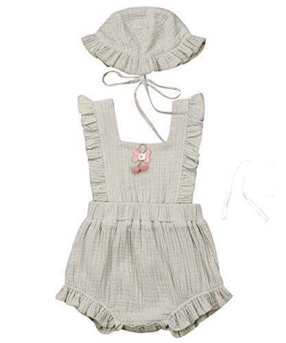 - Newborn Infant Baby Girl Clothes Lace Halter Backless Jumpsuit Romper Bodysuit Sunsuit Outfits Set (Pompom Cotton Romper with Hat-Grey, 18-24 Months)