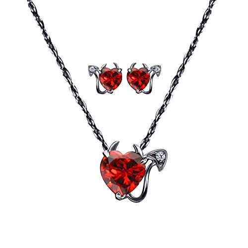 Garnet Necklace Trillion (Gothic Vampire Bat .925 Sterling Silver 14k Black Gold Plated CZ Garnet Pendant Necklace & Earrings Fashion Jewelry Set for Women, Best Gift for Wife Girlfriend)