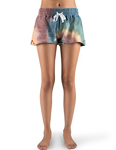 Rebel Canyon Young Women's Lightweight French Terry Tie Dye Elastic Waistband Short Large Tie Dye Multi (Terry Tie Dye)
