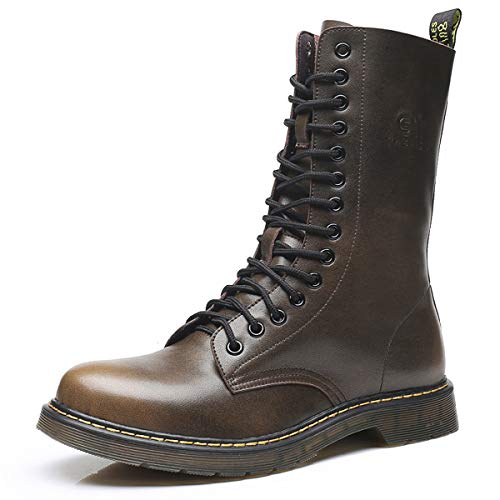 SANTIMON Mens Casual Leather Boots Mid Calf Fashion Retro High Tops Hard Toe of Mens Work Combat Boots Brown 10.5 D(M) US