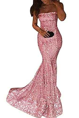 PearlBridal Women's Strapless Sheath Sequined Mermaid Long Prom Dresses Formal Evening Gown Coral Size 24plus
