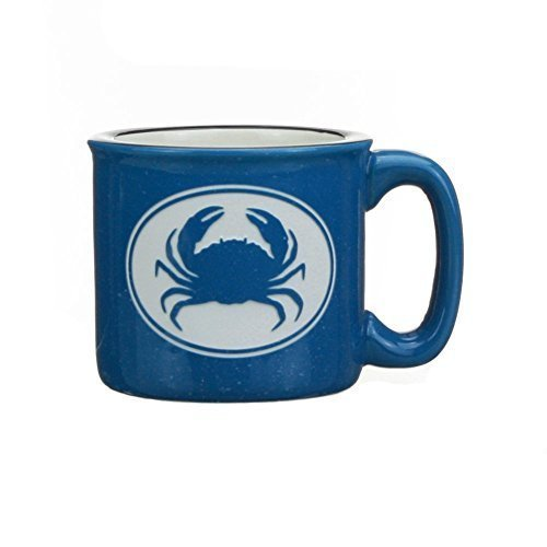 Cape Shore Blue Etched Crab 15 Ounce Coffee Tea Mug Cup - Crab Mug