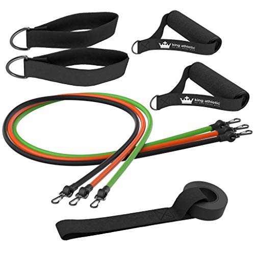 Cheap King Athletic Resistance Bands with Handles & Door Anchor :: Rubber Stretch Fitness Training Tube Band Set Comes with Leg Straps and Exercise Chart :: Includes 2 Free Instructional E-Books