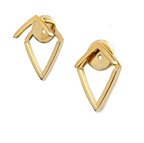 Wishbone Rings Gold (TRILL EAR JACKETS 18K Gold Vermeil Convertible Earrings | Diamond Wishbone Studs | Can Be Worn 2 Ways | Hypoallergenic | 925 Sterling Silver base | Birthday Anniversary Party gift for her)