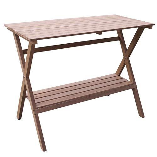 CHOOSEandBUY Indoor Outdoor Wood Potting Bench Garden Table with Lower Shelf Garden Table Fairy Miniature