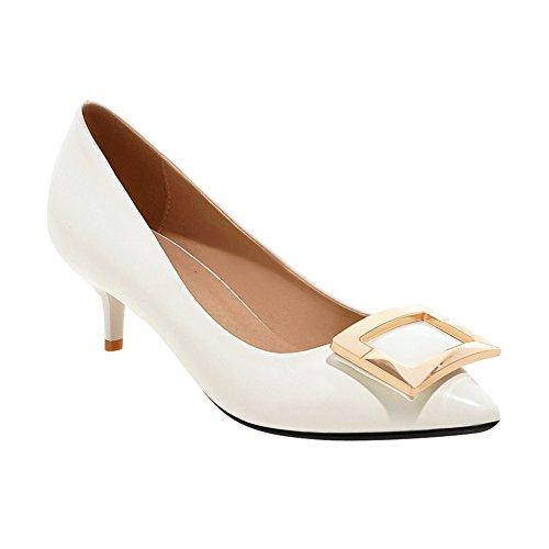 Mee Shoes Damen Kitten heel Geschlossen Lackleder Niedrig Pumps Weiß