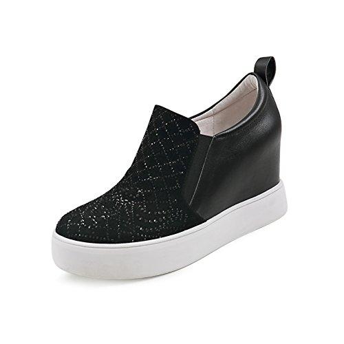 PUMPS Strass Muffin Schuhe,Slipsole Dünne Schuhe,Leder Freizeitschuhe,Inner-Erhöhung Damenschuhe-A Fußlänge=23.8CM(9.4Inch)