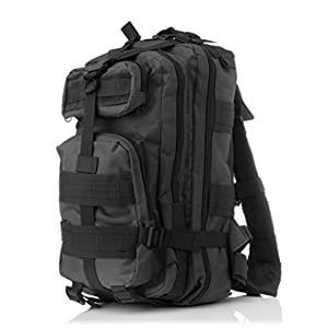 Oxford Military Tactical Army Assault Pack Backpack Waterproof Molle 3P Outdoor Hiking Camping Fishing Hunting Sport Bag black