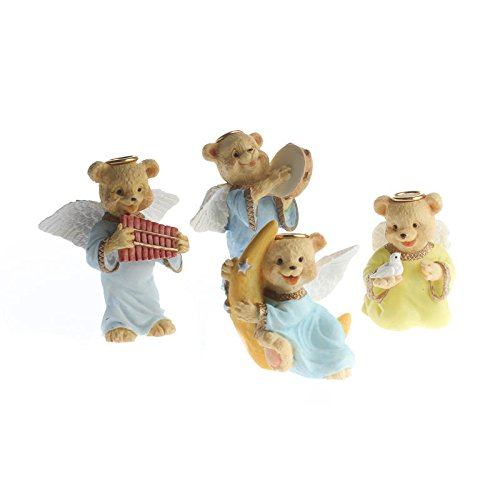 Group of 12 Assorted Resin Painted Angel Bear Figurines for Gifting, Favors, and (Angel Bear Figurine)