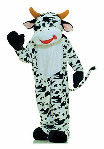 [UHC Unisex Deluxe Moo Cow Mascot Animal Theme Comical Adult Halloween Costume, OS] (Deluxe Cow Mask)