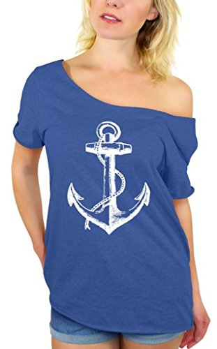 - Awkwardstyles Women's Anchor White Off Shoulder Tops T-Shirt + Bookmark L Blue