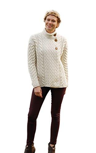(Asymmetrical Irish Multi Cable Wool Cardigan)