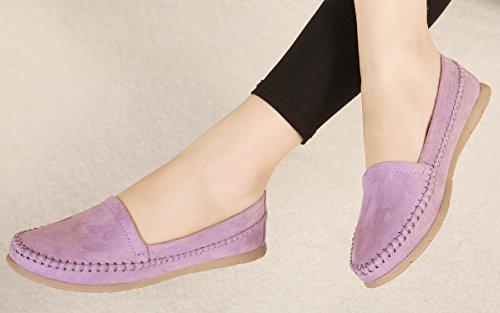 dqq Damen Stich Slipper Slip On flache Schuhe Violett