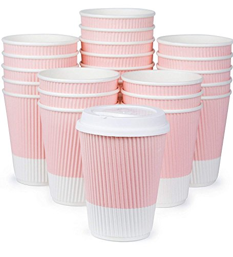 Premium Disposable Coffee Cups With Lids - (90)