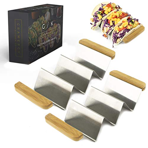 Taco Holder Stand - Set of 2 with Premium Bamboo Wood Handles | Gourmet Restaurant Style Stainless Steel Taco Holders Serving Tray with Dividers