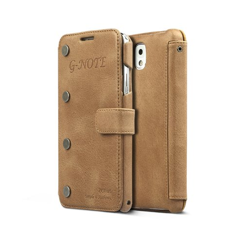 Nubuck Stud - Zenus G-Note Vintage Diary Wallet for Samsung Galaxy Note 3, High End Genuine Nubuck Leather Case Cover ( Note3, NoteIII, Note III ) - Vintage Brown