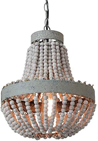 Anmytek Wood Beaded Chandelier Pendant Light Gray White Finishing Kitchen Island Lighting Retro Vintage Rustic Beads Ceiling Lamp Light Fixtures 1-Light