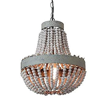 Image of Anmytek Wood Beaded Chandelier Pendant Light Gray White Finishing Kitchen Island Lighting Retro Vintage Rustic Beads Ceiling Lamp Light Fixtures 1-Light Home and Kitchen