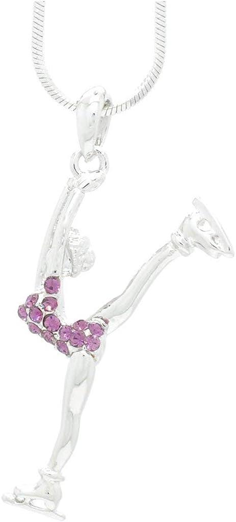 Violet Victoria /& Fan Star Deluxe Crystal Split Leg Figure Skater Necklace Choose Your Color!