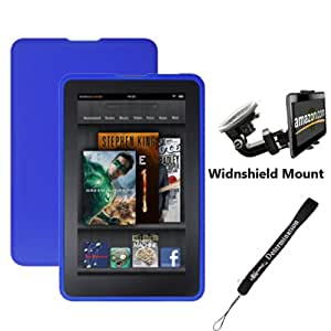 "Blue Amazon Kindle Fire Tablet Silicone Skin + Includes a Compatible Universal Windshield Mount for Kindle Fire + Includes a eBigValue 4"" Determination Hand Strap"
