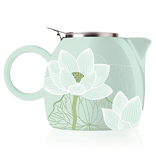 (Tea Forte PUGG 24oz Ceramic Teapot with Tea Infuser, Loose Leaf Tea Steeping For Two, Lotus )