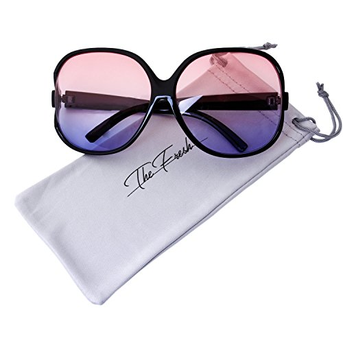 The Fresh New Women's Vintage Style XL Oversized Jackie O Frame Ocean Colored Lens Sunglasses with Gift Box (6-Black, - O Jackie Sunglasses In