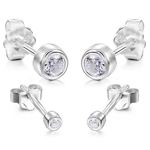 INBLUE Womens 2mm 4mm 4 PCS 925 Sterling Silver Stud Earrings CZ Set (2 Pairs)