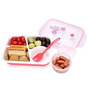 Bento Box Lunch Box 3-compartment 1-bowl (4 in 1) 1- Spoon - Silicone Leakproof Healthy Lunch Boxes for Kids Adults - Food Grade Plastic Containers Crisper - Special Smart Valve Microwave-safe Red