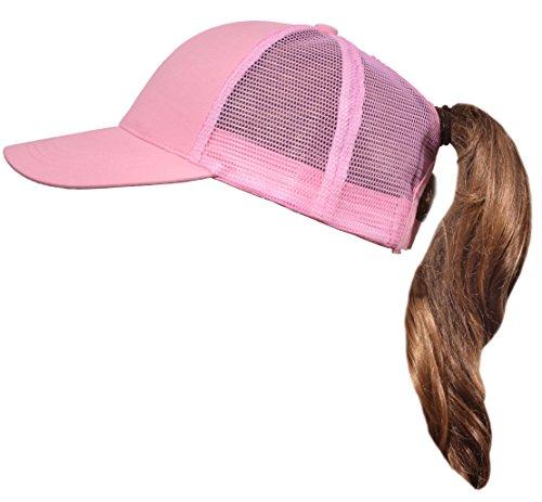 - Beurlike Ponytail Baseball Cap High Bun Ponycap Adjustable Mesh Trucker Hats (Pink)